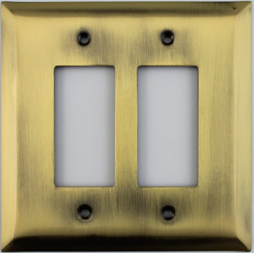 Jumbo Stamped Antique Brass Two Gang GFI/Rocker Opening Wall Plate by Classic Accents
