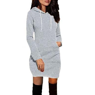 Star_wuvi Women Casual Loose Winter Warm Pocket Hooded Long Sleeve Dress Party Sweatshirt Dress (Gray