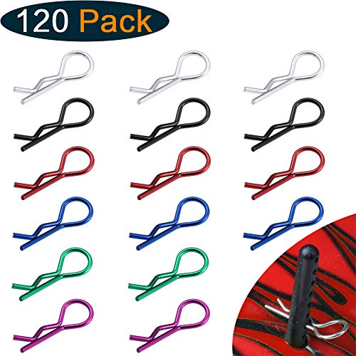 Hobbypark 120PCS RC Car Body Clips Pins Universal for 1/8 1/10 1/12 RC Car Truck Buggy Crawler Short Course Shell Replacement Parts,Sliver Black Red Green Nave Blue Purple