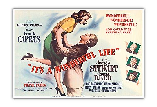Pacifica Island Art Frank Capra's It's a Wonderful Life - Starring James Stewart, Donna Reed - Vintage Film Movie Poster c.1946 - Master Art Print - 13in x ()