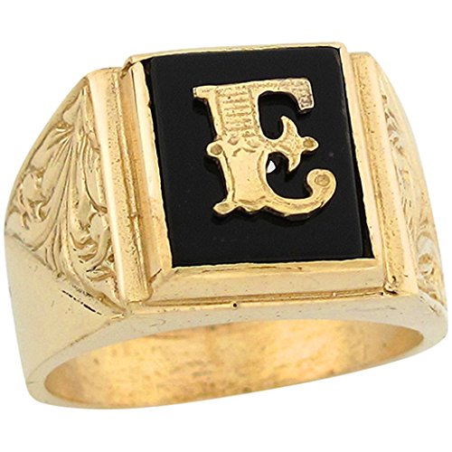 10k Real Gold 12x10mm Rectangle Onyx Letter E Fancy Mens Initial Ring -