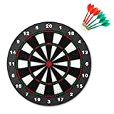 CAMTOA Safety Dart and Dart Board Set, 16 Inch Rubber Dart Board...