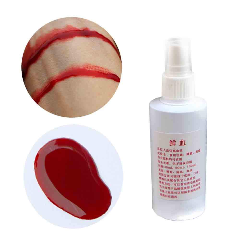 Halloween horror props, USHOT Halloween Fake Blood Bottle Realistic Human Vampire Blood Make Up Paint 30ml by USHOT (Image #2)