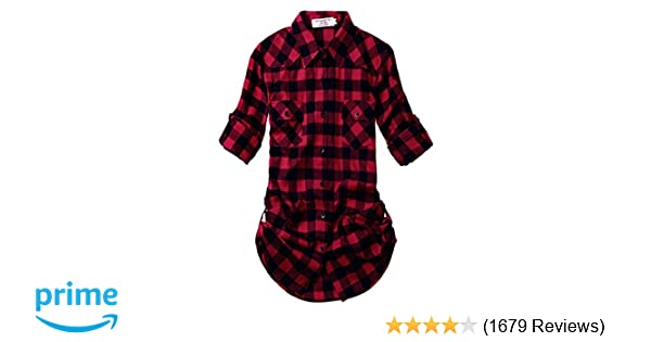 a9623acb5eb8b Match Women s Long Sleeve Flannel Plaid Shirt at Amazon Women s Clothing  store