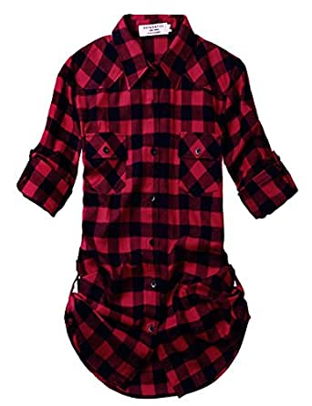 1d43ad77c9a0 Match Women s Long Sleeve Flannel Plaid Shirt at Amazon Women s ...
