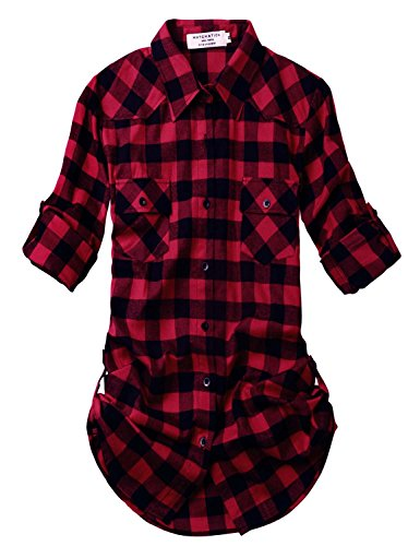 Two Pocket Wool Skirt - Match Women's Long Sleeve Plaid Flannel Shirt #2021 (X-Large, 2021 Checks#1)