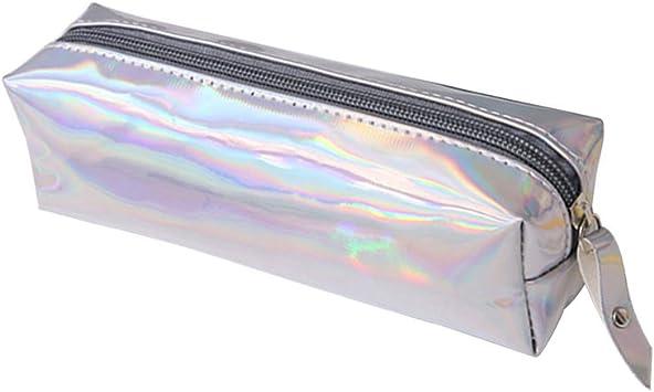 Estuche de lápices con brillo, estuche de almacenamiento con cremallera simple para pluma o pincel de maquillaje (plateado): Amazon.es: Belleza