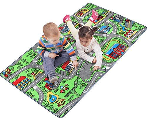 "Road Giant Rug (Click N' Play Large Non-Slip City Life Kids Playmat Carpet, Fun, Educational, for Play Area, Playroom, Bedroom-53"" x 39"")"