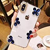 Funyye 3D Crystal Rhinestone Case for iPhone 6,Luxury Bling Glitter Blue Petal Diamond Ultra thin Transparent Hard PC Case for iPhone 6S,Anti Scratch Bumper Back Cover Case for iPhone 6/6S + 1 x Free Screen Protector
