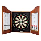 Trademark Games TG Beveled Wood Pro Style Board and Dart Cabinet, Black