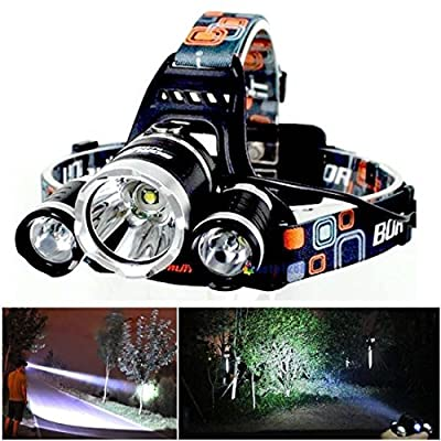 Greatest Popular 3x LED 5000Lm Headlamp Rechargeable Big Headlight Super Bright Color Black