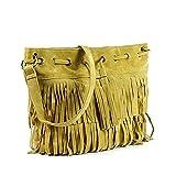 Di Grazia Suede Fringe Tassel Women's Shoulder Sling Beach Handbag (Apricot, Apricot-Big-Tassle-Bag)