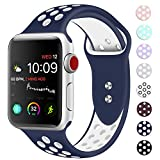 Booyi Sport Band for Apple Watch 38mm 40mm 42mm 44mm, Sport Bands Soft Silicone Wristband Replacement Compatible for iWatch Apple Watch Series 4,3,2,1 Nike+,Sport,Edition-S/M M/L
