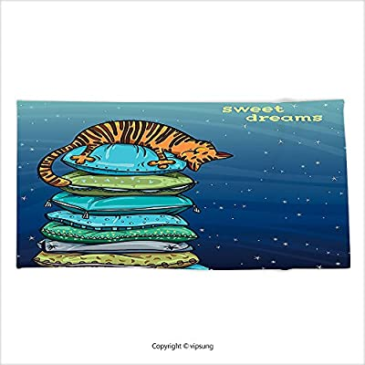 Vipsung Microfiber Ultra Soft Bath Towel Cat Lover Decor Collection Tab Kitten Sleeping Over On A Tower Of Colored Pillows In Starry Night Sweet Dreams Print Multi For Hotel Spa Beach Pool Bath