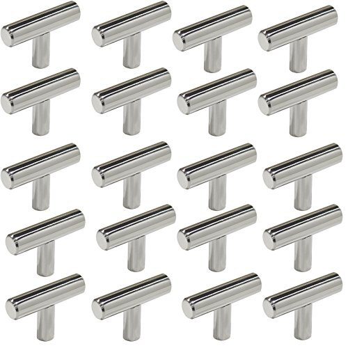 Probrico Cabinet Hardware Drawer Handles and Pulls, T Bar Kitchen Handles Polished Chrome Finish, Furniture Door or Drawer Knobs - Single Hole - ()