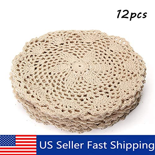 king do way 12Pcs Hand Crocheted Doilies,Beige 8'' Round Floral Crochet Lace Flower Doily French Country Placemat crocheted doilies