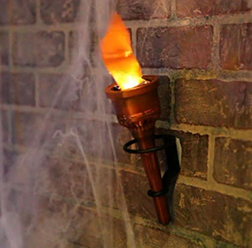 [Pair 2 Torch Fake Flame Light Halloween Decor Prop Hand Held or Wall Mounted Set] (Halloween Props)