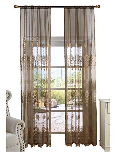 Aside Bside Elegance Sheer Curtains Floral Embroidered Rod Pocket Transparent Treatment Drapers for Living Room & Bedroom(1 Panel, W 50 x L 63 inch, Brown) -1280135C1FFFBN75063-8507