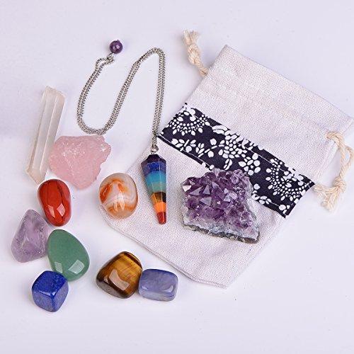 11 pcs Chakra Crystal Healing Kit/Lot of 7 Chakra tumbles, Crystal Quartz Pendulum, Amethyst Cluster, Raw Rose Quartz, and Crystal Point/Bohemian Meditation Set by QIANYA
