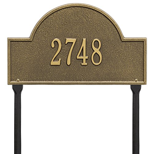 Whitehall Arch Marker - Standard Lawn - One Line- Antique Brass