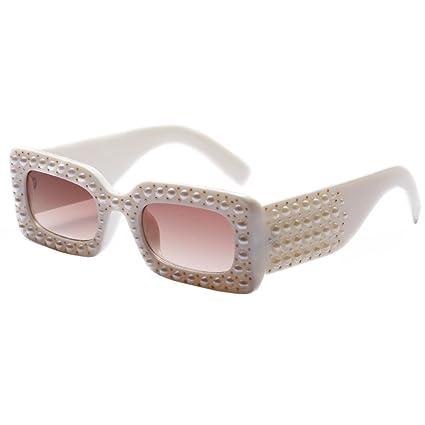 e1dc93808be Amazon.com  Sdoo Women Fashion Pearl Square Frame Anti-UV Sunglasses ...