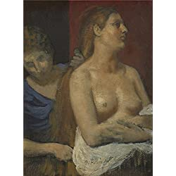 Oil Painting 'Pierre Cecile Puvis De Chavannes A Maid Combing A Woman's Hair ' Printing On Polyster Canvas , 16 X 22 Inch / 41 X 55 Cm ,the Best Living Room Decor And Home Decoration And Gifts Is This Imitations Art DecorativeCanvas Prints