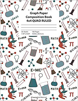 graph paper composition book science icons 4x4 quad ruled math and