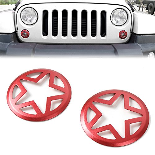 JeCar Red Front Turn Signal Light Cover Guard for 2007-2017 Jeep JK Wrangler & Wrangler Unlimited (Five Star)