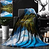 Unique Custom Double Sides Print Flannel Blankets Lake House Decor Collection Mirror Reflection On Lake By The Forest With Bright Cl Super Soft Blanketry for Bed Couch, Throw Blanket 40 x 60 Inches