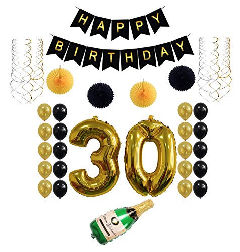 Golden 30th Year Happy Birthday Letter Balloon Banner Party Set of 34 Pack Mylar Foil Helium Reusable Latex Metallic Ballons with Gold Black Pom Sliver Swirl Congratulation Decoration Idea Celebration (Birthday Store Near Me)