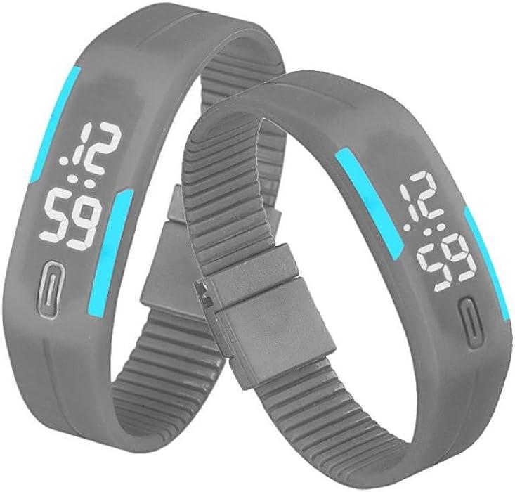 QinMM Reloj digital Pulsera deportiva de silicona, con pantalla LED, para correr, para mujer y hombre, unisex