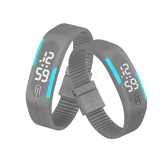 QinMM Reloj digital Pulsera deportiva de silicona, con pantalla LED, para correr, para