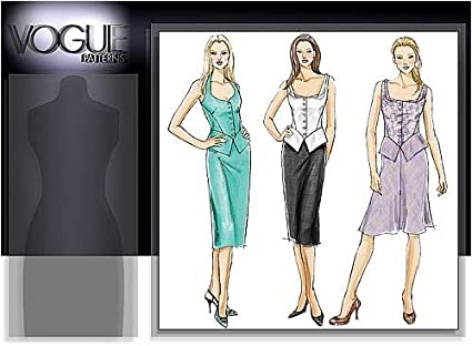 Amazon Com Vogue V8385 Ee Size 14 20 Peplum Top With Straight Or Bias Cut Skirt Arts Crafts Sewing