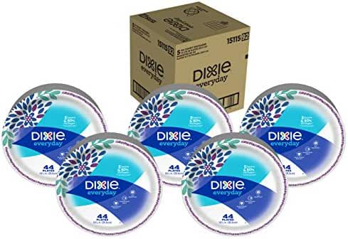 Dixie Everyday Paper Plates, 10 1/16 Inch Plates, 220 Count (5 Packs of 44 Plates); Designs May Vary