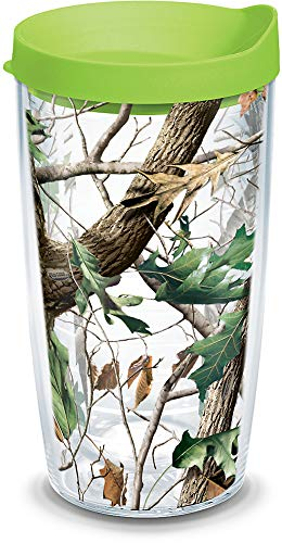 (Tervis 1157433 Realtree - Camo Hardwoods Knockout Tumbler with Wrap and Lime Green Lid 16oz, Clear)