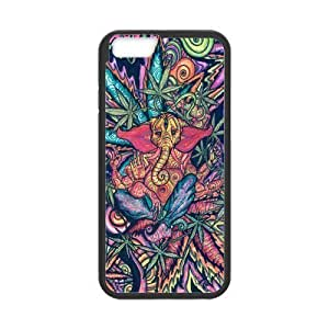 Generic Protective Case -Funny Trippy Elephant Hardshell Cell Phone Cover Case for New iPhone 6 plus (5.5inch)(Black)