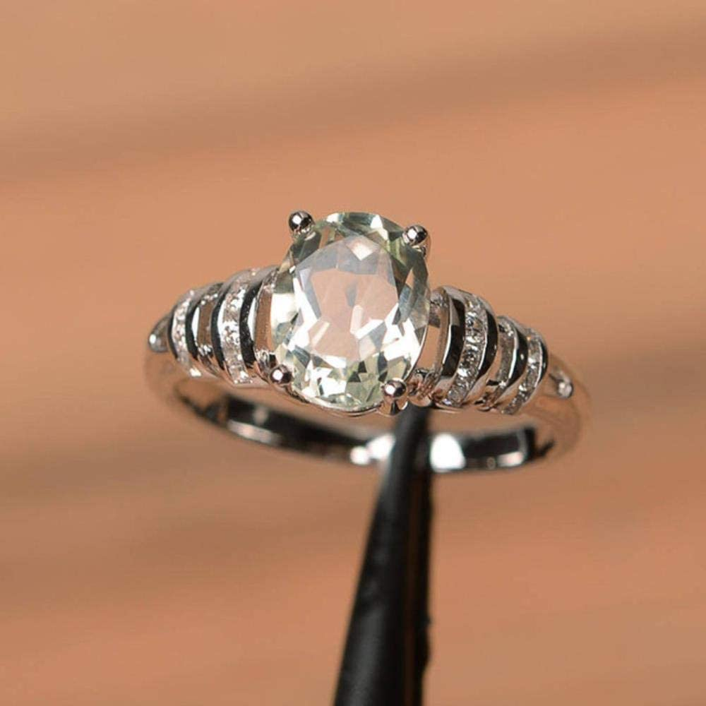 Diseño clásico de 4 garras, anillo de boda de piedra ovalada, joyería, blanco/azul/rojo, 3 colores de piedra disponibles, hermosos anillos de mujer, 9, blanco