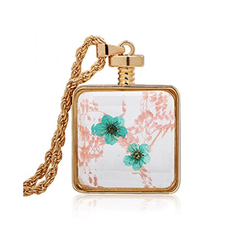 Pink Lucite Flower Bead (Winter's Secret Square Shape Pink and Blue Dried Flower Glass Pendant Gold Color Twist Chain Necklace)