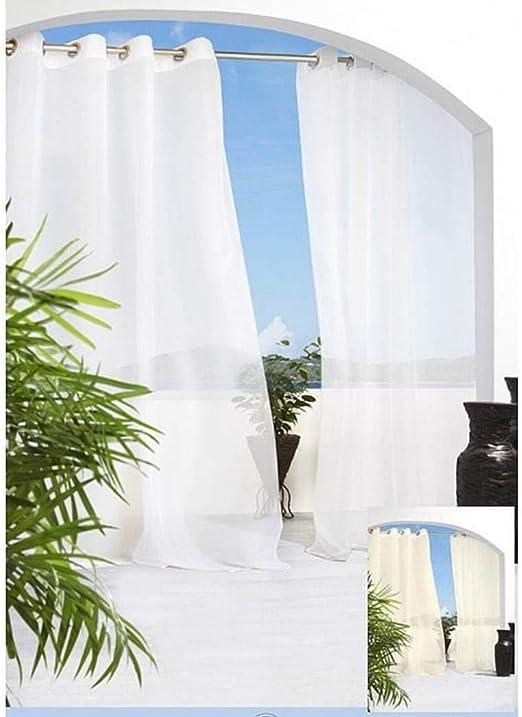 Juego de 2 cortinas de color blanco con diseño de gazebo de 84 piezas, para interior