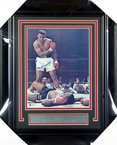 - Muhammad Ali Autographed Framed 8x10 Photo Over Liston Beckett BAS #A71764