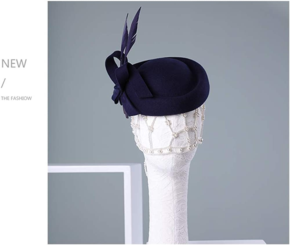 F FADVES Vintage Damen Fascinator Wolle Pillbox Hut formelle Kirche Hochzeit Kipphut