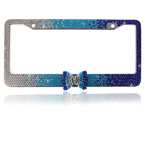 Global_Shopper Fashion Gradient Blue Bowtie Bling Crystal License Plate Frame Cute Rhinestone Car/Truck/SUV License Plate Holder(1 Frame) ()