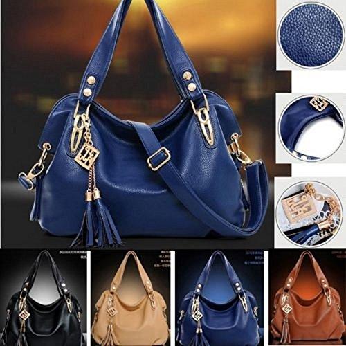 Women Ladies Leather Shoulder Bag Tote Purse Handbag Messenger Crossbody Satchel Black