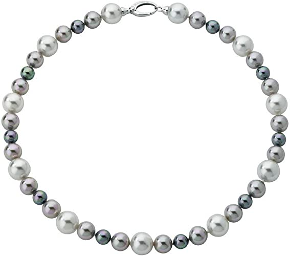 Majorica - Collar corto con perlas blanco, gris y nuage