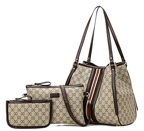 YVWTUC Elegant Handbag Printed Shoulderbag Purse 3-Pack Multi-Purpose Female Bag Beige Brown