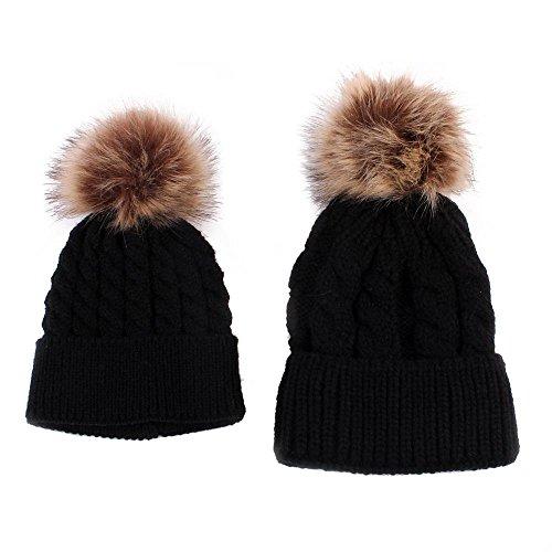 2PCS Parent-child Hat, Mother Baby Warm Knit Hat Fur Wool Beanie Ski ()