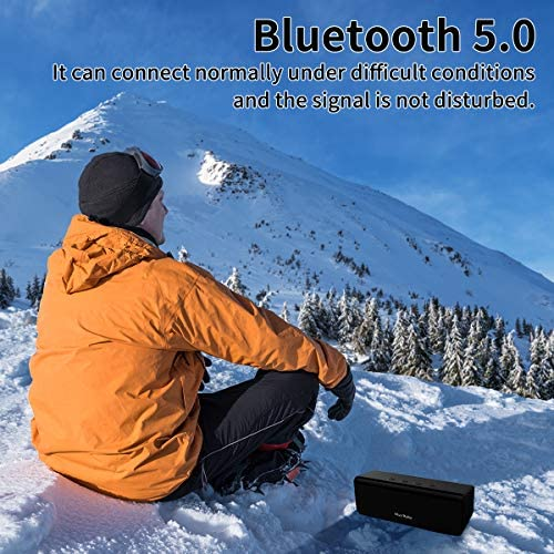 Bluetooth Speaker,MusiBaby M71 Speaker,Outdoor,Portable,Waterproof,Wireless Speaker,Bluetooth 5.0,Dual Pairing,Loud Stereo Booming Bass, 24H Playtime for Home,Party(Black)
