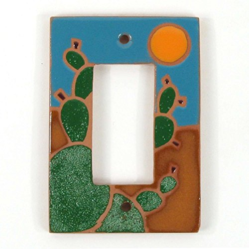 Terra Cotta Pear - Terra Cotta Clay Single Rocker Switch Plate - Teal Prickly Pear
