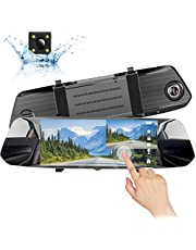 AVISIGHT Mirror Dash Cam Full HD 1080P Backup camera 7'' Dual Lens IPS Touch Screen Dash Cam Front and Rear View Waterproof Rear Camera 170°Wide Angle with G-Sensor Parking Monitor Motion Detection
