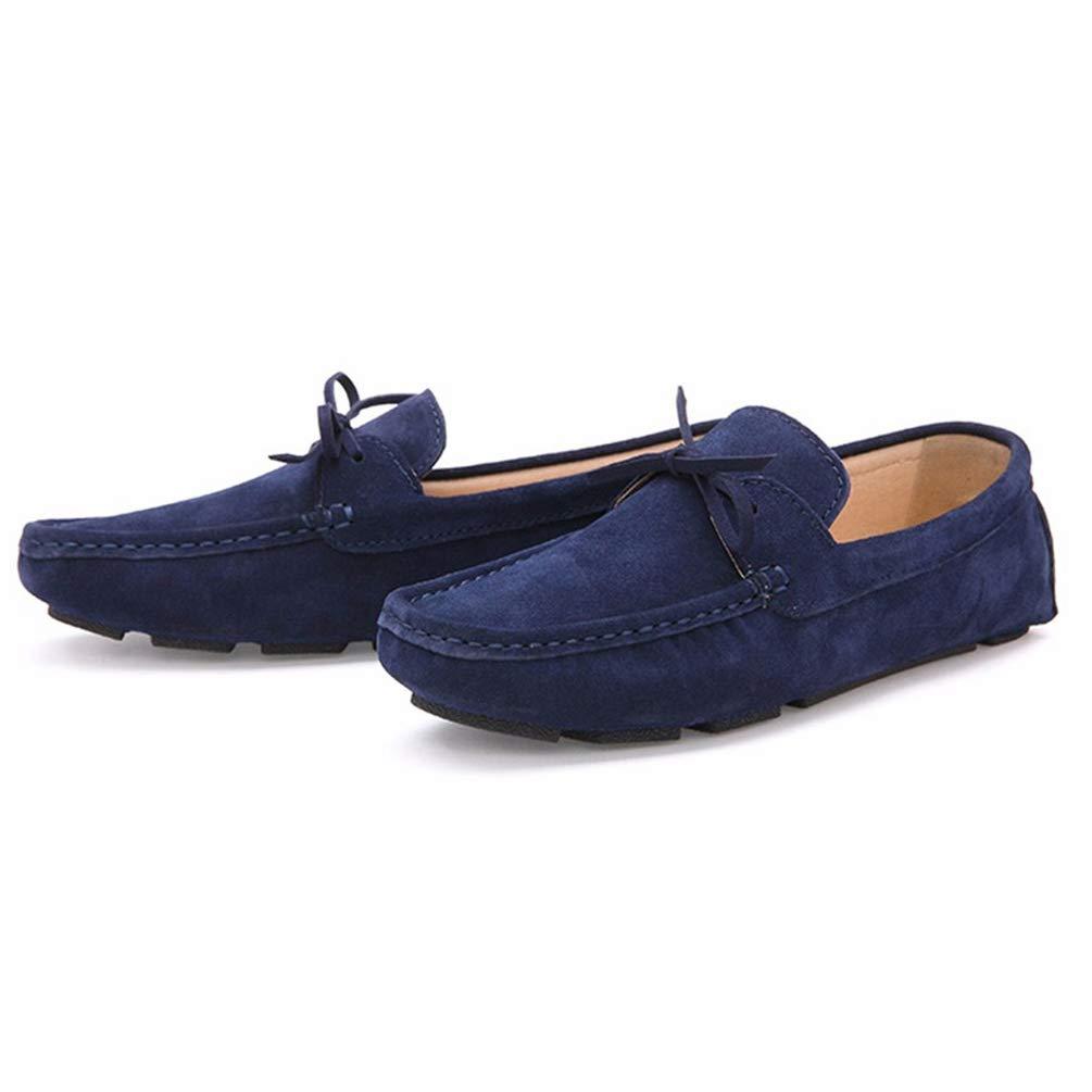 0c248513 Hombres Mocasines Soft Casual Gamuza Zapatos de Cuero Azul Marino  Deslizamiento en los Zapatos: Amazon